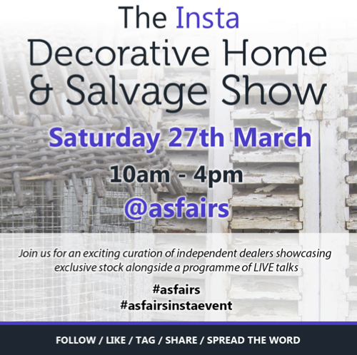 Antiques News & Fairs - Arthur Swallow Fairs' Insta Decorative Home & Salvage Show - 27 March 2021
