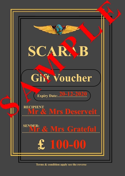Gift Vouchers Christmas & Scarab Sale
