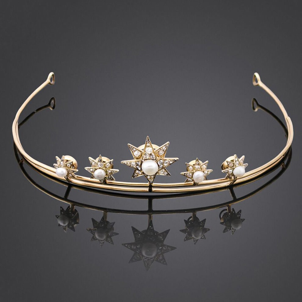 Anthea AG Antiques: Late Victorian natural pearl star tiara, c1880, £5,500.