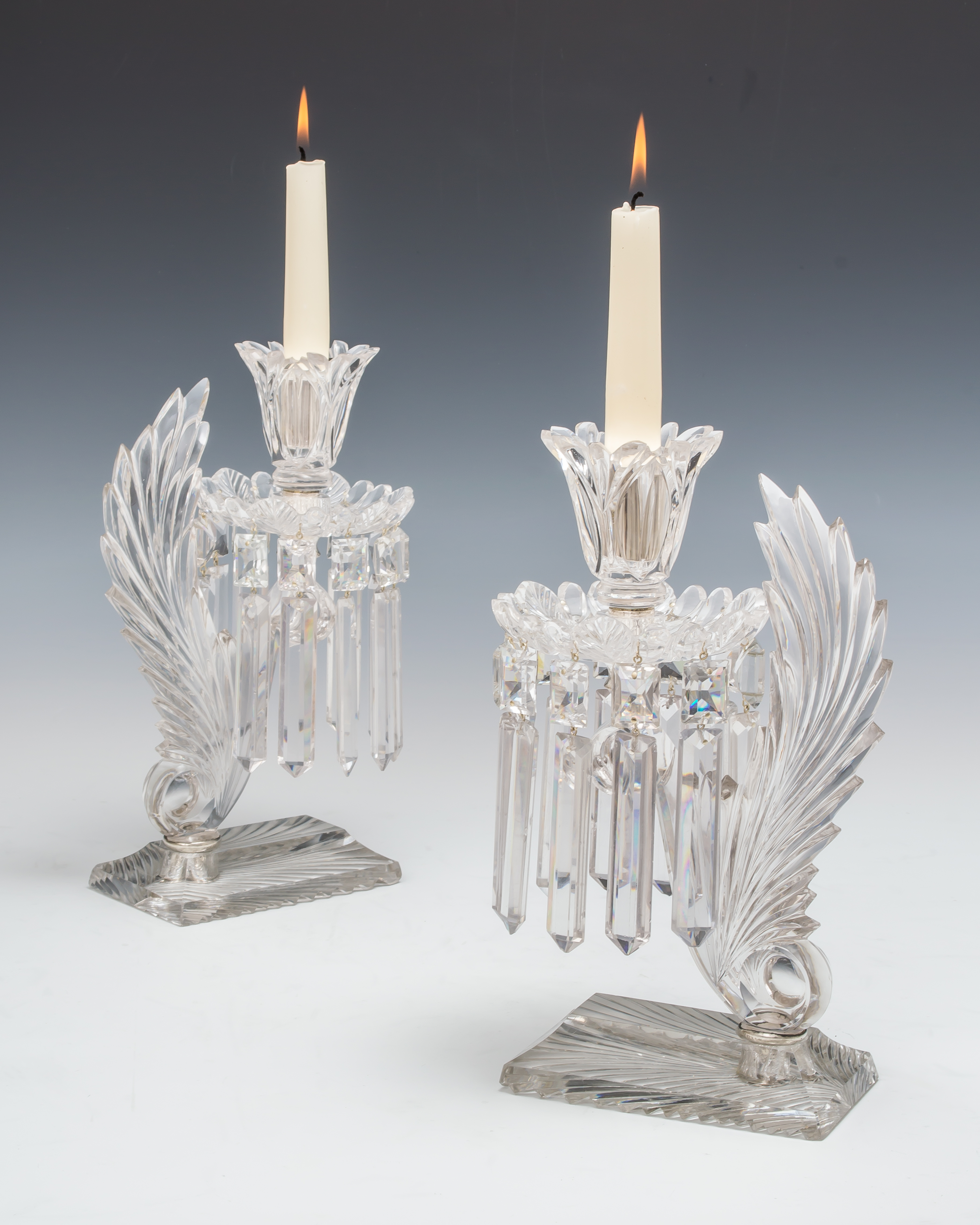 Fileman Antiques : Pair of cut glass and silver mounted candlesticks by F&C Osler, English, £2,800.