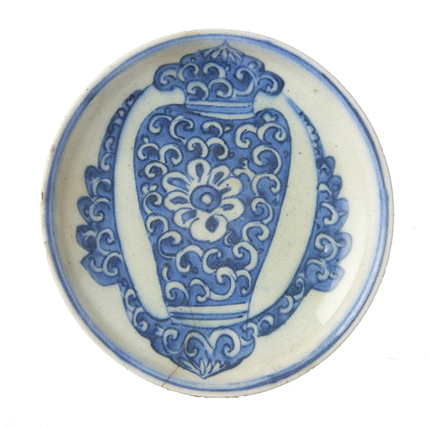 Safavid Blue and White Dish, Persia, C16th. £1000. Exhibitor: Arian Arts