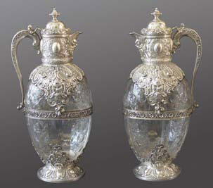 Edward VII claret jugs with silver mounts